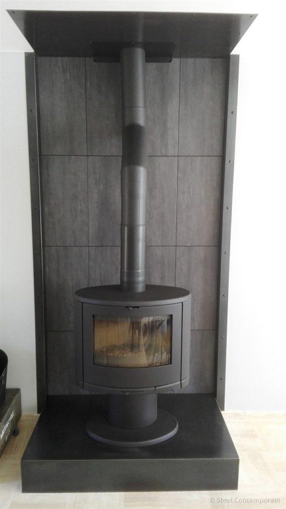 Habillage de cheminée en acier