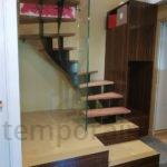 Escalier design bois métal et garde corps verre