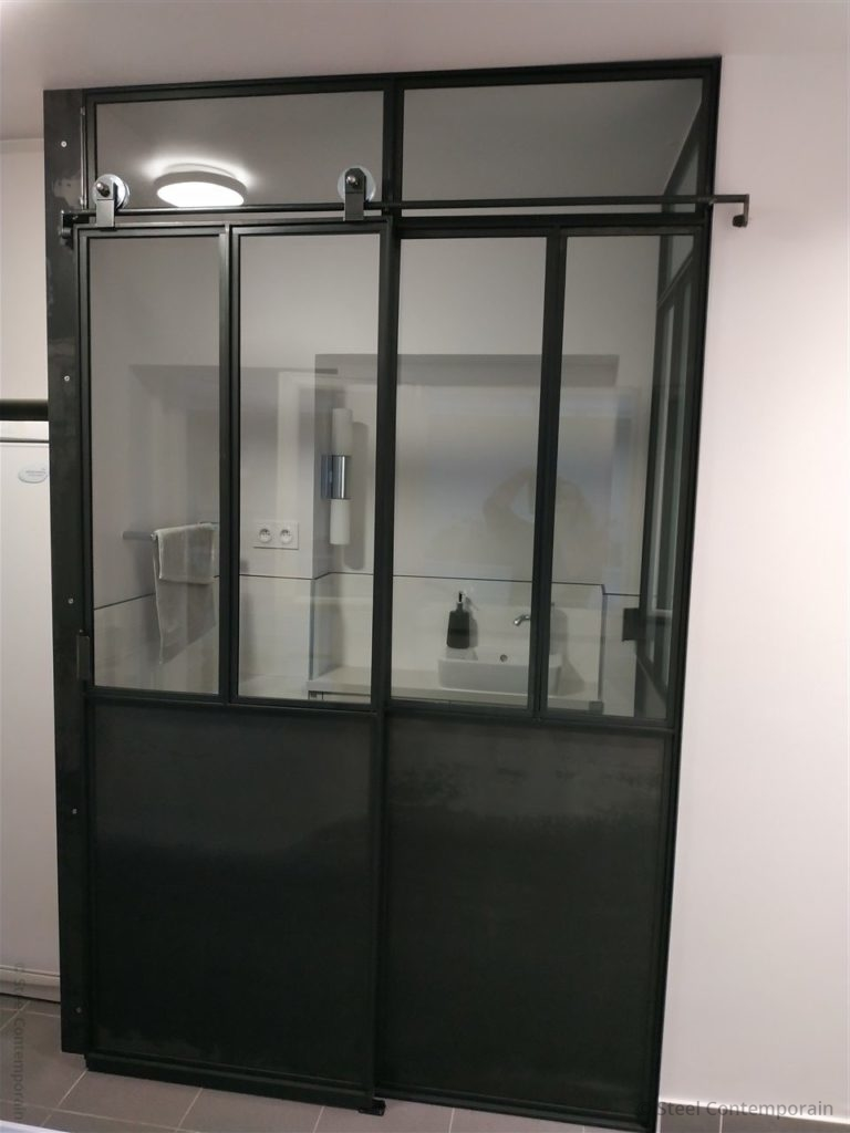 Portes verrières design verre transparant opale